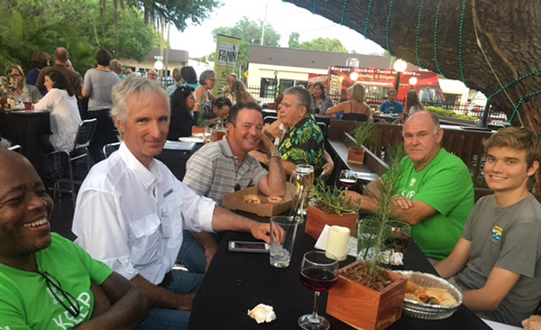One of several tables at the Thursday social at Motorworks Brewing Company, a great venue arranged for us by Chris Holly, who also set up the beautiful native plant centerpieces. From L-R: Volunteer Raymond Powell, Instructor Steve Turnipseed, About Native Yards owner Robert Meale, Wilcox Nursery & Landscape owner Bruce Turley, and student volunteer Zach Zeller. Everyone enjoyed a few brews under the big oak.