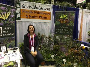 Landscape Designer Kirsten Sharp-Ortega in the Green Isle Gardens booth.