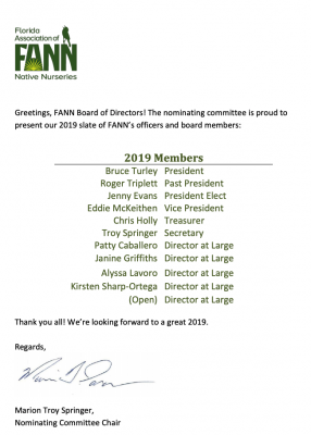 FANN Nominating Committee Slate of Board Member Candidates for 2019