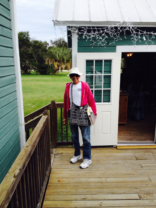 John in a relaxed setting among friends, with his ubiquitous Guatemala bag, floppy sun hat and a pink sweater for an extraordinarily cold day  in Sanibel, 2016, at our first Native Plant Industry Retreat.